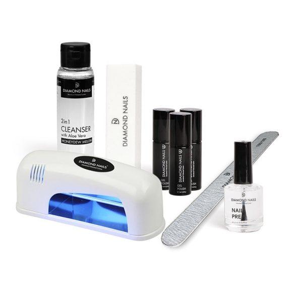 Kit de inicio - Esmalte permanente - Normal - Lámpara UV 9W (Blanco)
